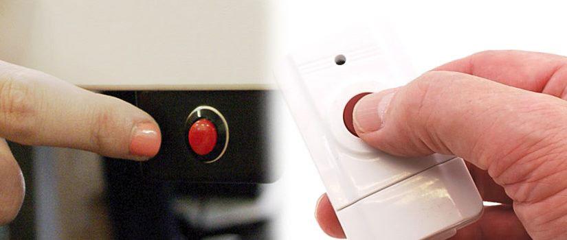 Стационарная и радио кнопка тревожной сигнализации (тревожная кнопка)