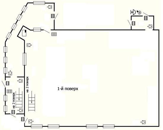Попередня схема розміщення засобів охоронно-тривожної сигналізації на першому поверсі будівлі
