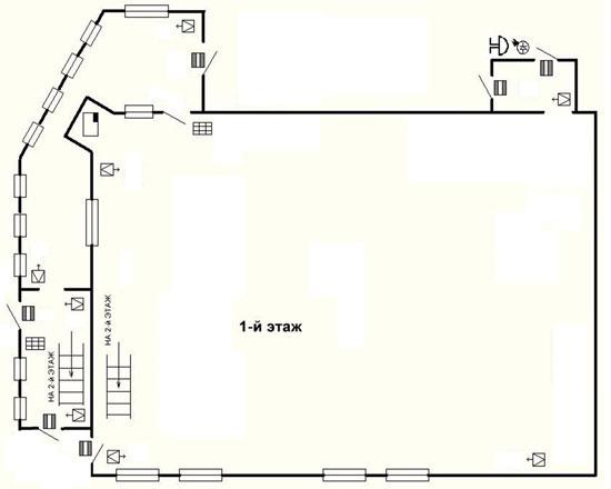 Предварительная схема размещения средств охранно-тревожной сигнализации на первом этаже здания