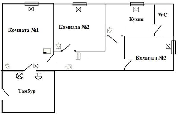 Схема размещения средств охранно-тревожной сигнализации