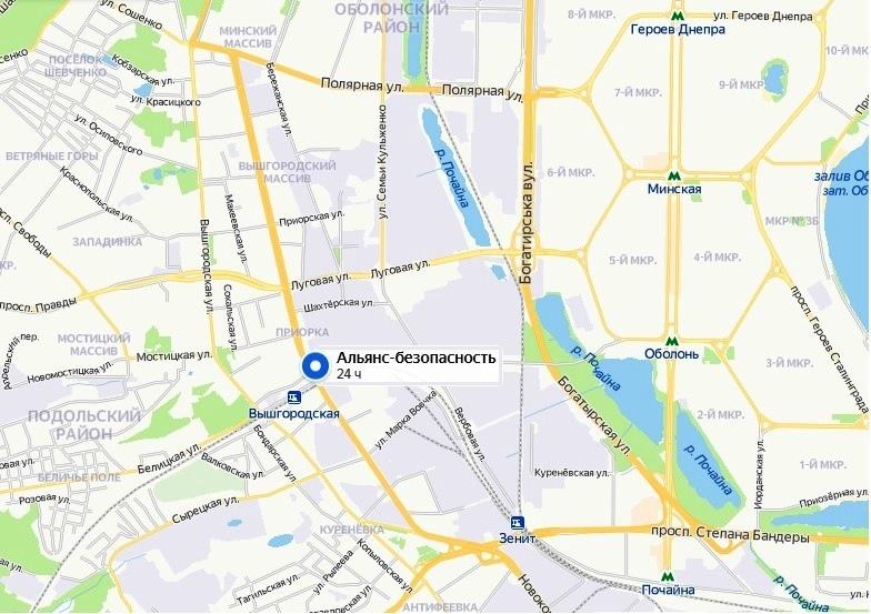 Карта проезда в охранную компанию Альянс-безопасность